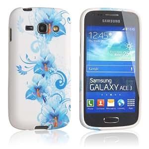 Einzige Slim Fit S-Line Flexible TPU Case for Samsung Galaxy Ace 3 GT-S7270 / GT-S7272 / GT-S7275 with Premium Universal Stylus/Pen (Blue Flower)