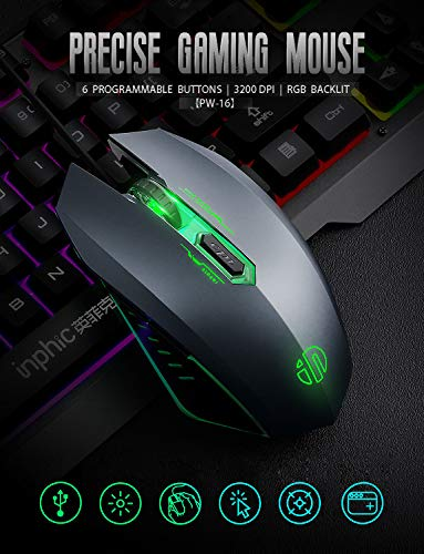 INPHIC V680 Wired Gaming Keyboard with Mouse Combos, 104 Keys LED Rainbow RGB Backlit Keyboards, Durable Metal Structure, Mechanical Feeling, 6 Button RGB Mouse for PC Gamer Computer Laptop 51Oubd499XL