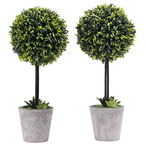 MyGift Artificial Boxwood Topiary Tree in Modern Gray Pulp Planter, Set of 2 by MyGift