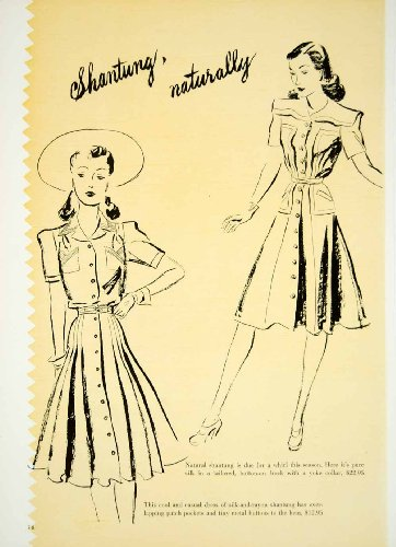 40s Rayon Dresses (1941 Color Print Shantung Silk Rayon Fabric Dresses 1940s Fashion Illustration - Original Color Print)