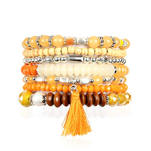 RIAH FASHION Bohemian Multi-Layer Sparkly Crystal Bead Statement Bracelet - Versatile Stretch Strand Delicate Stackable Cuff Bangle Set Tassel Charm (Boho Wood Mix - Orange Yellow)