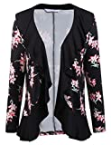 ELESOL Womens Fashion Floral Print Cardigan Long Tops Loose Ruffle Cover Coat Black1/S