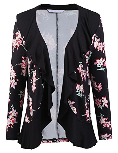ELESOL Women Plus Size Open Front Drape Hem Lightweight Cardigan Crop Frill Jacket Black1/XXL - Frill Detail Cardigan
