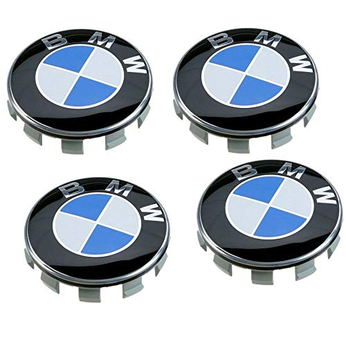 Enseng Set of 4 - BMW Wheel Center Caps Emblem, 68mm BMW Rim Center Hub Caps for All Models with BMW Wheels Logo Blue & White Color ()