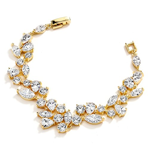 Mariell 14KT Gold Plated Cubic Zirconia Bridal Tennis Bracelet with Mosaic CZ, Wedding Prom and Jewelry]()