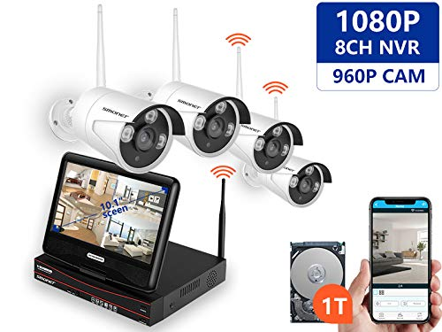 SMONET All-in-One with 10.1inches Monitor Wireless Security Camera Systems,8-Channel 1080P Video Security System(1TB Hard Drive),4pcs 1.3MP Indoor Outdoor Wireless IP Cameras,P2P NVR Kits,Night Vision
