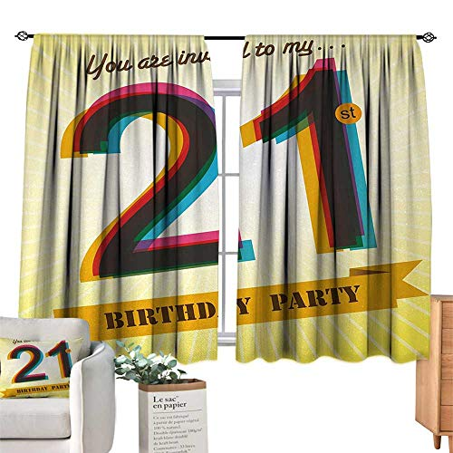 RuppertTextile Insulated Sunshade Curtain 21st Birthday,Invitation to an Amazing Birthday Party on a Yellow Radial Backdrop Image,Multicolor for Living, Dining, Bedroom (Pair) 55
