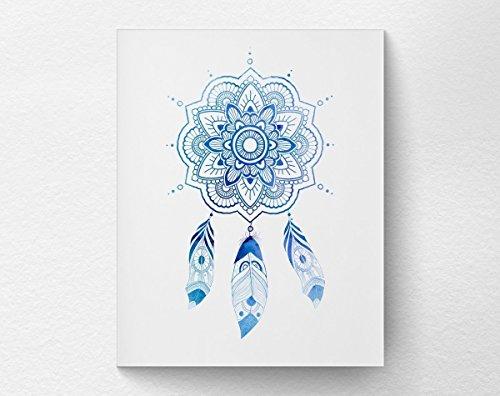 (Mandala Feather Dreamcatcher Wall Art Print Poster Decor, Boho Bohemian Art Print, 8x10 Print)