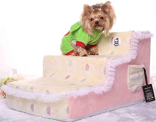 Wwjpet Escaleras De Mascotas En Interiores Y Exteriores Escalera De 3 Pasos Escaleras Portátiles Livianas para Perros Y Gatos 65 × 40 × 35Cm,Amarillo: Amazon.es: Hogar