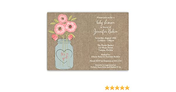 Amazon.com: Baby Shower Invitations, Burlap, Mason Jar, Flowers, Painted, Watercolor, Rustic, Chic, Girls, Baby Girl, Pink, Jute, Country, Customized, ...