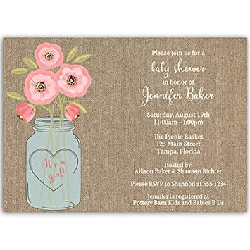 Amazon Com Baby Shower Invitations Burlap Mason Jar Flowers