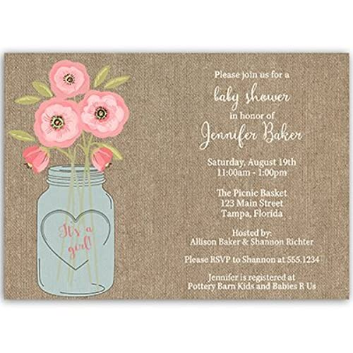 Baby Shower Invitations, Burlap, Mason Jar, Flowers, Painted, Watercolor,  Rustic, Chic, Girls, Baby Girl, Pink, Jute, Country, Customized, ...