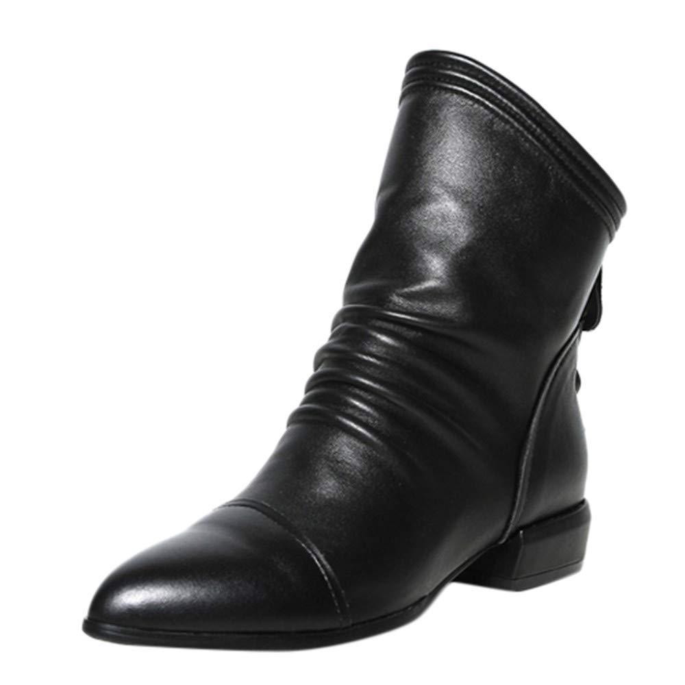 Logobeing Botines Piel Mujer Bota de Tacón Cuadrado con Bota Baja y Botines de Tacón Medio Volantes Zapatos