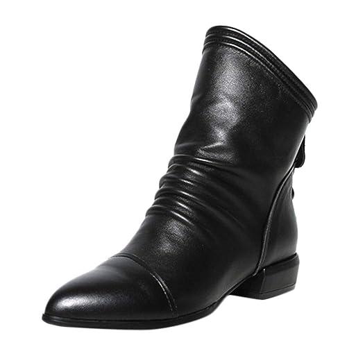 Logobeing Botines Piel Mujer Bota de Tacón Cuadrado con Bota Baja y Botines de Tacón Medio Volantes Zapatos: Amazon.es: Zapatos y complementos