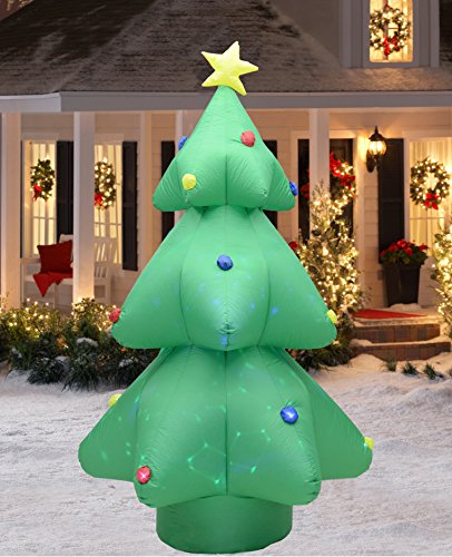 Fashionlite 8 Feet Christmas Xmas Inflatable Tree Flashing Colorful Lighted Blow-Up Yard Party Decoration (Tree Lights Up Christmas)