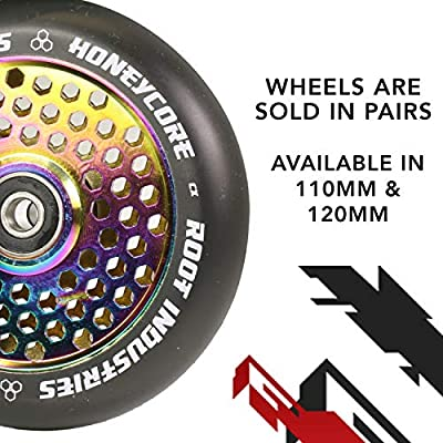 ROOT INDUSTRIES 110mm Honeycore Wheels - Black Urethane (Pair) (Black/NeoChrome) : Sports & Outdoors