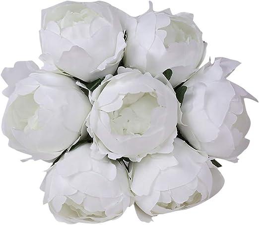 LEEDY Ramo de Flores Artificiales de Seda para Boda, Perlas de ...