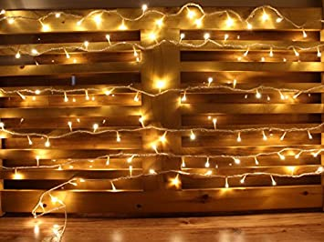 25FT Warm White 100 LEDs Battery Operated Outdoor And Indoor Extendable  String Lights With 8 Functions