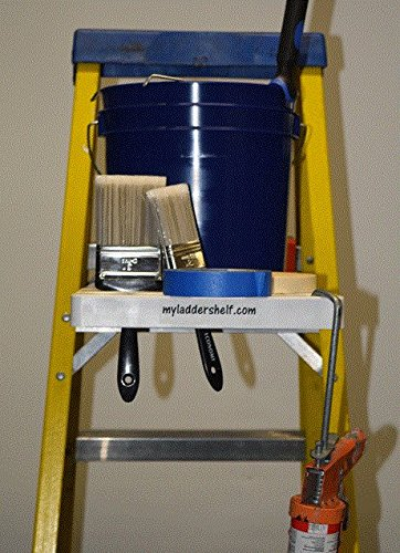Ladder Shelf Systems -Heavy Duty -Multifunctional -Time saving - Professional Grade molded plastic pail shelf - attaches to most Warner, Louisville, and Keller brand single sided A-frame step ladders by Ladder Shelf Systems (Image #2)