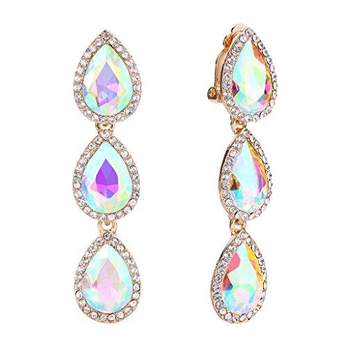 EleQueen Women's Gold-tone Austrian Crystal Teardrop Pear Shape 2.4 Inch Long Clip-on Dangle Earrings Iridescent AB