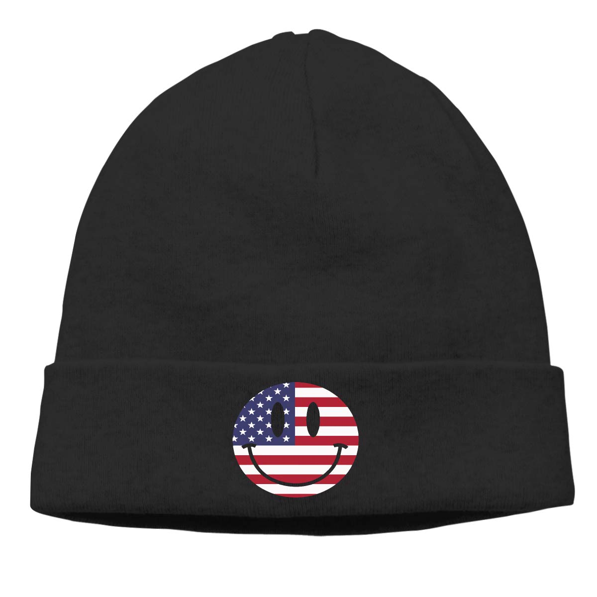 BBlooobow Mens/&Womens US Flag Smiley Face Soft Knit Caps