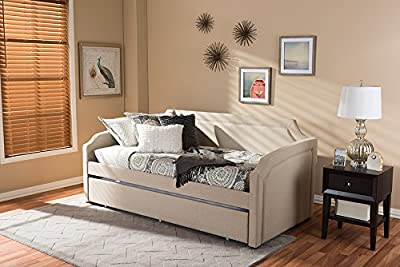 Baxton Studio Parkson Modern And Contemporary Linen Fabric Curved Notched Corners Sofa Daybed With Roll-Out Trundle Guest Bed Beige/Twin/Contemporary