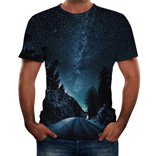 - iHPH7 Top Blouse T-Shirt Summer New Full 3D Printed T Shirt Plus Size Cool Printing Men (XXL,1- Navy)