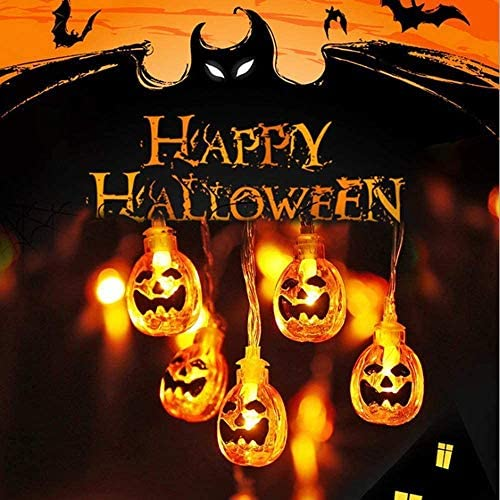 AERZETIX Halloween Pumpkin String Lights, Garden, Gate, Yard, Holiday Lights for Indoor Outdoor Decor, 3AA Battery Powered 2 Modes Steady Flickering Lights 30 One Pumpkin Lights, 15 feet