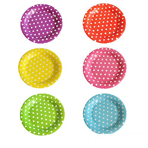 MZQLight Dot Design Party Pack Paper Luncheon Plates 7-Inch, 40 Count( 4 Assorted color )