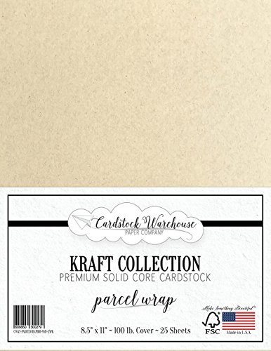 PARCEL WRAP KRAFT Recycled Cardstock from Cardstock Warehouse - 8.5'' X 11'' - PREMIUM 100 LB. COVER - 25 Sheets by Cardstock Warehouse