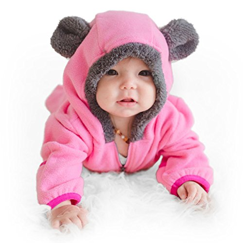Funzies Baby Bunting Fleece Hooded Romper Bodysuit (BearPink18-24m)