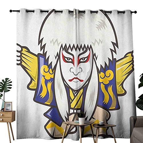 duommhome Kabuki Mask Simple Curtain Character with Kimono Costume Orient Elements Edo Era Arts Theater Play Print Set of Two Panels W108 x L84 Multicolor -