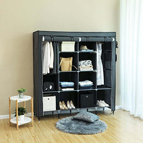 SONGMICS 67 Inch Wardrobe Armoire Closet, Clothes Storage Rack, with 4 Side Pockets, Gray URYG44GY