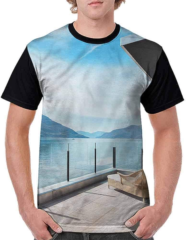 BlountDecor Fashion T-Shirt,Idyllic Sea with Mountain Fashion Personality Customization