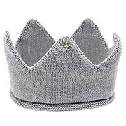 Staron Kids Baby Knit Hairband Hat Crown Headband Birthday Cap Headwear Photo Prop (Gray)