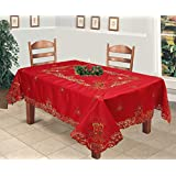 Creative Linens Holiday Christmas Embroidered Poinsettia Candle Bell Tablecloth 70x120Rectangular with 12 Napkins RED Gold