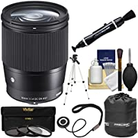 Sigma 16mm f/1.4 Contemporary DC DN Lens with 3 UV/CPL/ND8 Filters + Tripod + Pouch Kit for Olympus / Panasonic Micro 4/3 Cameras