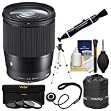 Sigma 16mm f/1.4 Contemporary DC DN Lens with 3 UV/CPL/ND8 Filters + Tripod + Pouch Kit for Sony Alpha E-Mount Cameras