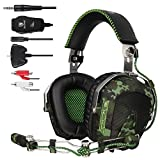 SADES SA926 Helicopter Over Ear PC Gaming Headset Gamer Headphones with Microphone Compatible with PS4 Xbox One Phone Mac Laptop - Army Green