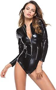 Amazon.com : WYYSYNXB Womens Patent Leather Long-Sleeved
