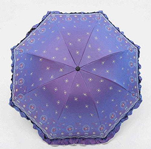 (Sucastle Chameleon, Vinyl, Folding, Umbrella, Creative, Rose, Love, Skirt, Princess, Sun umbrella, UV, Rain, Umbrella Sucastle:Colour:Light purple:size:Curvature; 110cm :; handle length 65cm)