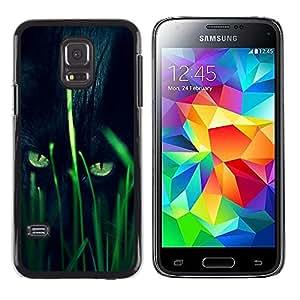 TopCaseStore / la caja del caucho duro de la cubierta de protección de la piel - Panther Hunting Grass Nature Eyes - Samsung Galaxy S5 Mini, SM-G800, NOT S5 REGULAR!