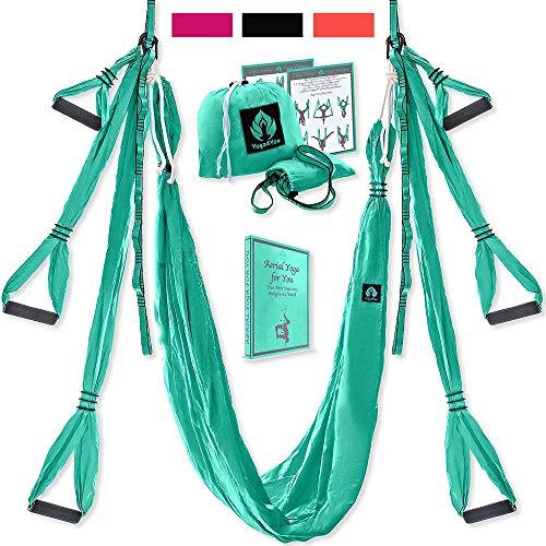 (Yoga4You Aerial Yoga Swing Set - Yoga Hammock Swing - Trapeze Yoga Kit - 2 Extension Straps - Wide Flying Yoga Inversion Tool - Antigravity Ceiling Hanging Yoga Sling - Adult Kids Arial Toga (Green))