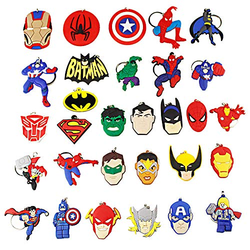 Melleco 30pcs Keychain Key Tags Superhero Goodie Bag Stuffer Christmas Gift Holiday Charms for Kids Birthday Party Favors School Carnival Reward Prizes Decoration Collectible