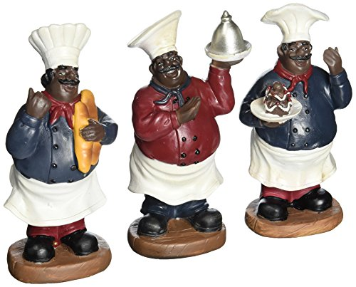 Fat chef kitchen statue set of african americans table
