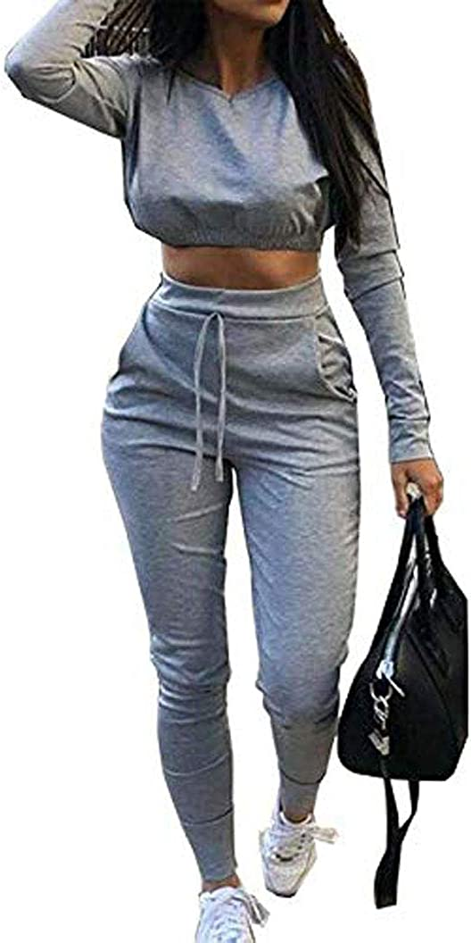 New Women Crop Top Bottoms 2 Pieces Co-Ord Set Jogging Loungewear Casual Bottoms Tracksuit 2PCS Set 8-22
