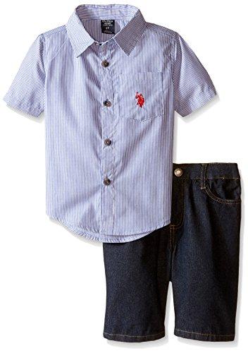 2 Piece Short Set Denim (U.S. Polo Assn. Big Boys 2 Piece Short Sleeve Striped Woven Shirt and Denim Short, Blue Plaid,)