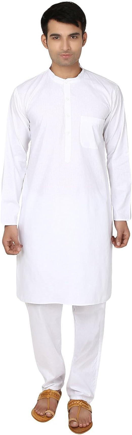 Kurta-pijama blanco de algodón para hombre - ropa para yoga de la ...