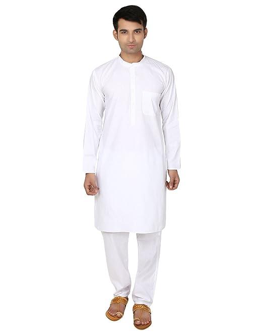 Kurta-pijama blanco de algodón para hombre - ropa para yoga de la india: Amazon.es: Ropa y accesorios