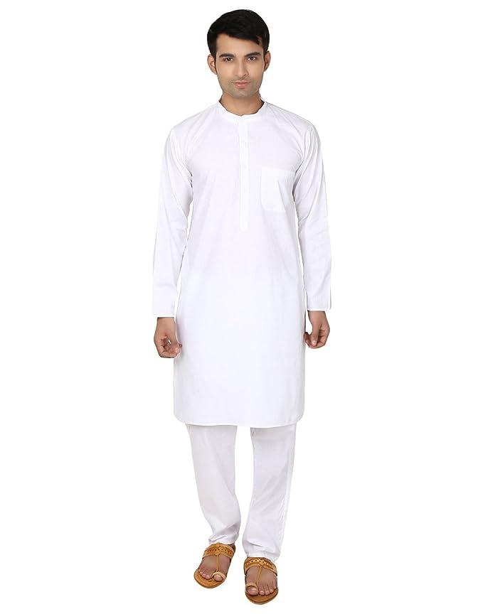 Kurta-pijama blanco de algodón para hombre - ropa para yoga de la india
